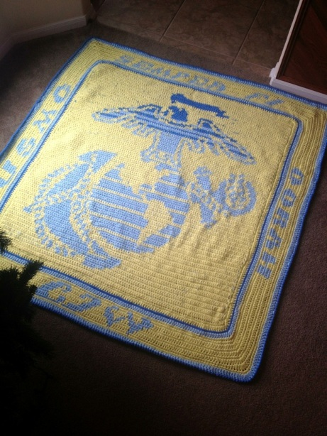 Military Crochet Chart Blanket Finished