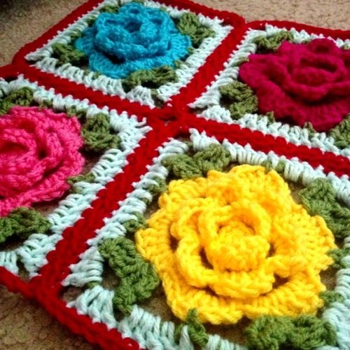 My new love! The Babouska Rose Blanket. I am making this blanket, and ...