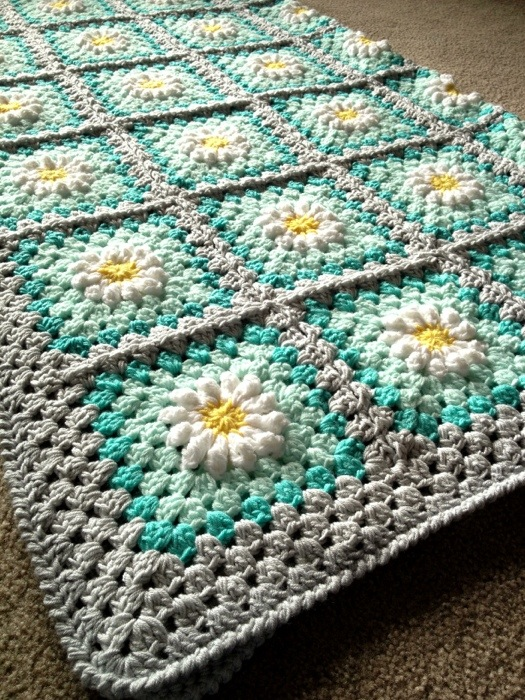 White Daisy on Aqua